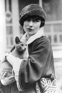 Margaret Mitchell, author of Gone With The Wind, and cat.