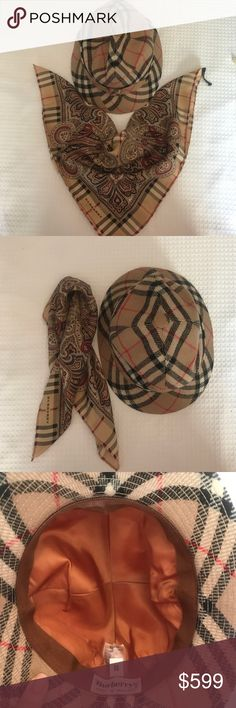 """Burberry Classic Wool Hat and Scarf Gorgeous set purchased in London but never worn. 18"""" square scarf and medium sized hat. Burberry Accessories Hats"""