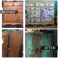 The Turquoise Iris ~ Vintage Modern Hand Painted Furniture: Bohemian Vintage Wardrobe Hand Painted in Sante Fe Turquoise & Windsor Blue Turquoise Painted Furniture, Hand Painted Furniture, Paint Furniture, Furniture Projects, Furniture Upholstery, Diy Projects, Bohemian Furniture, Funky Furniture, Rustic Furniture