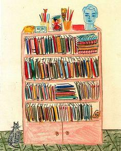 María luque La biblioteca de @rominabiassonii #bibliotecasdibujadas