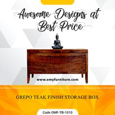 Product URL: GREPO TEAK FINISH STORAGE BOX  Product Code - OMF-TB-1010  Product URL: https://www.omyfurniture.com/grepo-teak-finish-storage-box-…  Grepo teak finish Storage box is made by Sheesham wood (Rosewood) with the teak finish. That is a simple line design storage box. For the opening, we set the group on top section.  Call Us: +91 9001470833, 7627045945  #furniture #cabinet #diningtable #bed #drawer #bookselves #chairs