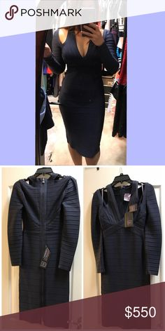 Herve Leger dress, Small, NWT Authentic, Brand new navy Herve Leger dress Herve Leger Dresses Midi