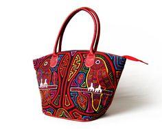 Ledertaschen - Mittelgroße Schultertasche aus Leder mit Mola - ein Designerstück von MolaBags bei DaWanda