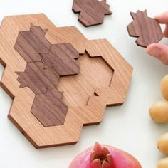 The most original Rosh Hashanah gift ever! A challenging wood puzzle of pomegranate and honey comb, originally invented and designed by us, at studio armadillo. Honeycomb Shape, Wood Games, Rosh Hashanah, Armadillo, Wooden Puzzles, Wood Carvings, Yellow And Brown, Surprise Gifts, Man Stuff