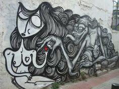 Sonke & WD (Wild Drawings). Toile de sonke www.streetartgalerie.com