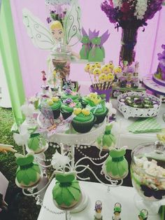 Pretty treats at a Tinkerbell birthday party! See more party ideas at CatchMyParty.com!