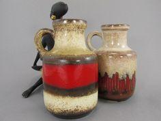 Vintage Vasen-Set (Krug/Henkelvase) / Scheurich / 414 16 / 2 Vasen / West German Pottery | 70er von ShabbRockRepublic auf Etsy