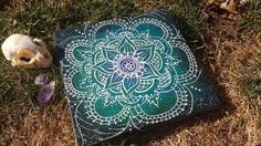 Henna White Lotus  Acrylic Painting on Canvas by Lunattic on Etsy, $20.00