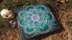 Henna White Lotus  Acrylic Painting on Canvas by Lunattic on Etsy, $20.00