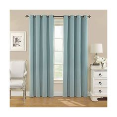 Eclipse Nadya Solid Curtain Panel ($26) ❤ liked on Polyvore featuring home, home decor, window treatments, curtains, smoke blue, window curtains, target window curtains, black out curtains, grommet blackout curtains and target curtains