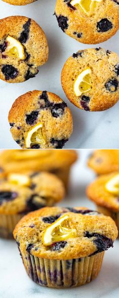 These lemon blueberry muffins are quick to make with a moist and tender center bursting with blueberries and perfectly golden brown tops.