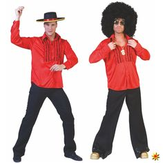 rotes Rüschenhemd für Disco-Kostüme oder als Spanier