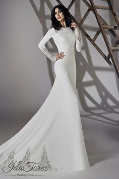 Modest Trumpet Mermaid Bateau Natural Court Train Stretch Crepe Ivory Long Sleeve Open Back Wedding Dress 01064