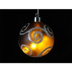 Bola de cristal decorativa con luz led. Color marrón decorada con círculos. Especial para iluminación navideña. 8 luces led en el interior. Longitud de cable 5 metros. Diámetro: 10 cm.