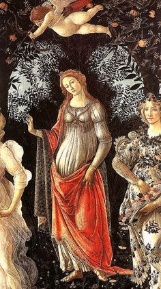 Sandro Botticelli, Primavera, Detail mit Venus, Amor und Flora