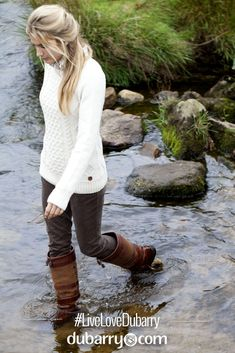 Weather perfect outfit - waterproof Dubarry Galway boots, soft corduroy Honeysuckle trousers, Shandon luxury cable knit sweater.