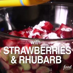 Get Strawberry Rhubarb Crumble Recipe from Food Network Food Network Recipes, Food Processor Recipes, Cooking Recipes, Strawberry Rhubarb Crumble, Rhubarb Recipes, Tasty, Yummy Food, Comfort Food, Pudding