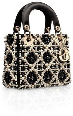 4965ef93186e Lady Dior Black Embroidered with Pearls More  christiandiorhandbags Sac ...