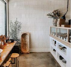 Kitchen Flooring, Kitchen Backsplash, Handmade Tiles, Polished Concrete, Wall And Floor Tiles, White Tiles, Tile Design, Retail Design, Wall Colors