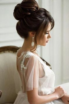 Trendy Wedding Hairstyles Updo With Bangs Style Ideas Best Wedding Hairstyles, Bride Hairstyles, Cool Hairstyles, Hairstyle Ideas, Hairstyle Wedding, High Bun Hairstyles, Small Face Hairstyles, Hair Ideas, Style Hairstyle