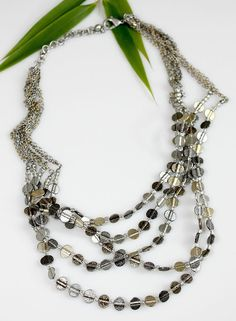 "CHICO""S 5 Strand Necklace ~ Gold / Silver Tone Chains & Flat Beads  Holiday Gift #Chicos #Beaded5strand"