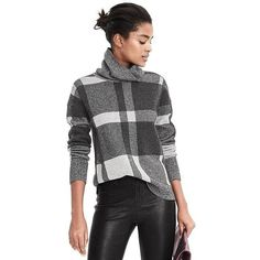 Banana Republic Womens Plaid Turtleneck ($98) ❤ liked on Polyvore featuring tops, sweaters, black, turtleneck tops, plaid sweaters, merino wool tops, plaid top and long sleeve turtleneck