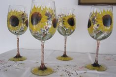On Sale Wine glasses with Sunflowers green leaves hand painted