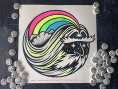 """Night Watch Studios on Instagram: """"All RAINBOW WIZARD Posters come with a FREE 1 inch Wizard button while supplies last! Get yours for just $20 at NIGHTWATCHSTUDIOS.COM! #wizard #rainbow #poster #screenprinting #nightwatchstudios"""""""