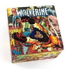Vintage Wolverine comic book collage cigar box by Paper Vs. Glue