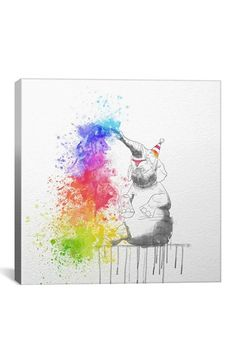 iCanvas 'Happy Elephant - DarkLord' Giclée Print Canvas Art available at #Nordstrom