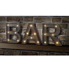 "Display this LED marquee sign featuring the letters ""B"", ""A"" and R"", and let it light the way to good fun. It's the perfect light to accessorize your kitchen, a game room, a den, and, of course, a bar."