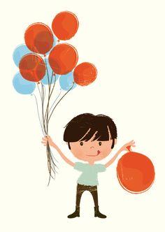 Image of Ballon boy greeting card set (4 cards)