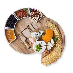 Cheese Cutting Board Set - Charcuterie Board Set and Cheese Serving Platter. Perfect Meat/Cheese Board and Knife Set for Entertaining and Serving. 4 Knives and 4 Ceramic Bowls Server Plate - 13 inch Party Food Buffet, Party Food Platters, Food Serving Trays, Cheese Platters, Charcuterie Recipes, Charcuterie And Cheese Board, Charcuterie Platter, Cheese Cutting Board, Cheese Board Set