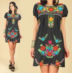 ViNtAgE 70's Black Floral Mexican EMBROIDERED Mini Tunic Dress Artisan Made Hippie BoHo Summer Dress by hellhoundvintage, $68.00