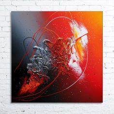 """Tableau abstrait contemporain """"HYADES"""" peinture moderne acrylique toile en relief noir rouge bordeaux argent métal orange"""