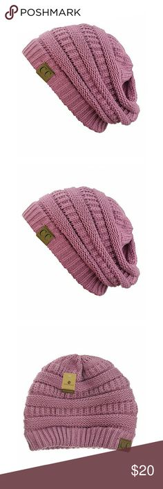 SLOUCHY KNIT OVERSIZED BEANIE NWT MAUVE colored OSFM beanie perfect for fall/winter  ONE SIZE 100% soft acrylic ** plz. Ask if you have any questions ** ** willing to accept reasonable offers ** PINKSNOWMOON Accessories Hats