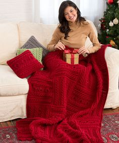 Divine Textured Throw & Pillows Free Crochet Pattern from Red Heart Yarns
