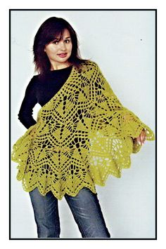 "Share Knit and Crochet: Crochet Semicircular Shawl,""olive"""