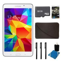 Samsung Galaxy Tab 4 8GB 7-Inch Tablet Bundle with 32 GB Micro SD Memory Card, Sleeve Case, Audio Earbuds, 3 Stylus Pens