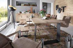 Eiche Esstisch Industrial 200x100cm. Pure Wildeiche massiv in 4 cm, drei Roheisen Gestelle, Tischformen und Farben preisgleich!