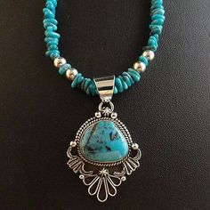 Navajo-Sterling-Silver-Blue-Diamond-Turquoise-Pendant-Necklace-Native-Made-USA