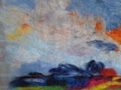 Friesland 60x60 Wol op katoengaas. Maart 2014 Frysian landscape. Wool on cotton scrim  Geskea Andriessen -sold-