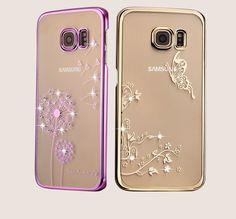 Dandelion Tree Crystal Diamond Full Transparent Hard Back Cover For Samsung Galaxy S6 /S6 Edge Phone Cases