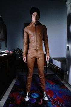 leather tan pants with matching jacket, built leather suit ..