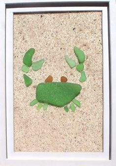 Sea glass crab - I have tons of sea glass from LBI, and a shore-themed bathroom. I need to get on this. ;)