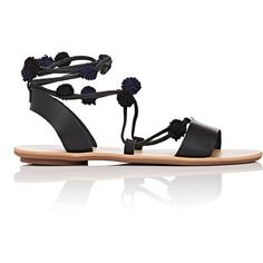 Loeffler Randall Women's Saskia Leather Lace-Up Sandals (295250 IQD) ❤ liked on Polyvore featuring shoes, sandals, black, flat shoes, leather lace up flats, black slingback flats, black sandals and embellished sandals