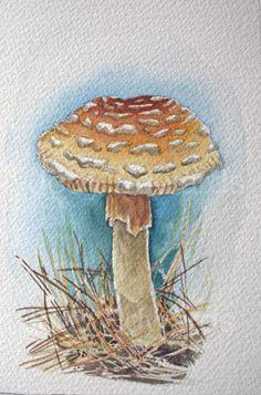 Mushroom painting - Original watercolor of a woodland mushroom