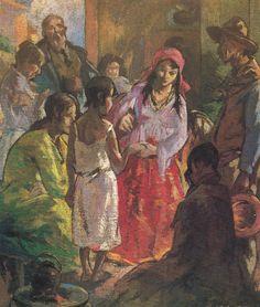 """Escena Gitana"""" Arturo Gordon. Óleo sobre tela (56x47). Artista de las escenas de costumbres populares, pintor perfeccionista con gran talento en el uso de color, la luz y la composición."""