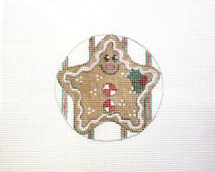$12.95   Gingerbread Star Ornament Handpainted Needlepoint Canvas #Unbranded