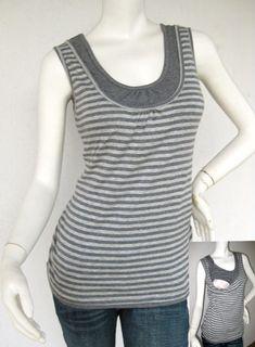 ELLE Maternity Clothes Nursing Top Breastfeeding Top NEW Original Design GRAY Stripe Nursing Singlet via Etsy $26.77